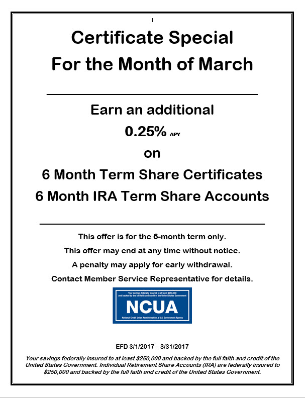Certificate Special March 2017