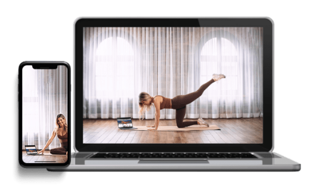 A computer and iphone showing the A Sculpt Body home workouts