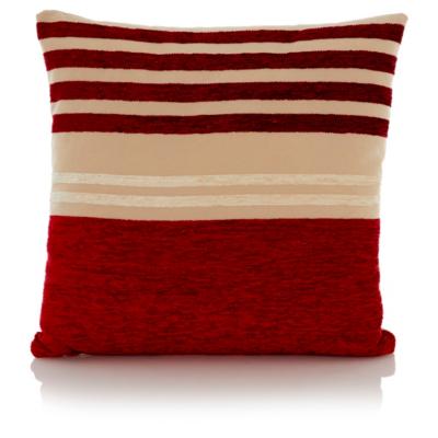 George Home Chenille Stripe Cushion 40x40cm - Red
