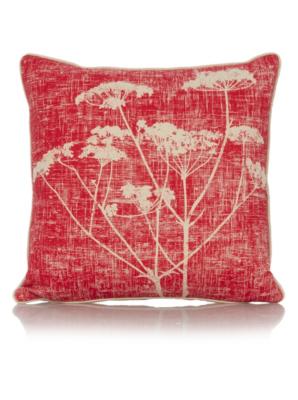 George Home Red Cow Parsley Print Cushion 43x43cm