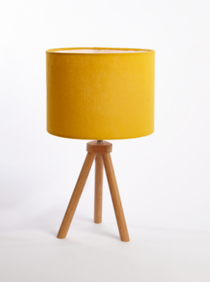 yellow wooden tripod table lamp reset [ 1800 x 1800 Pixel ]