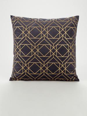 navy geo foil cushion