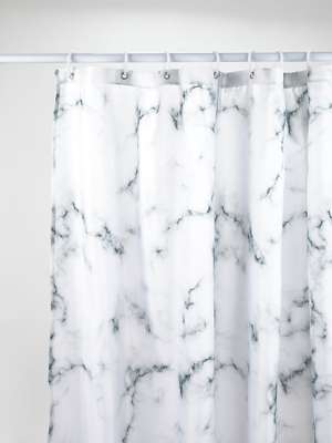 White Marble Effect Shower Curtain Home George