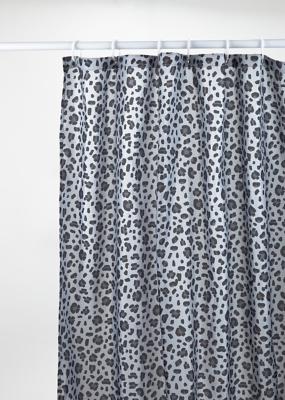 grey leopard print shower curtain