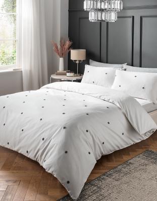 white luxury embroidered spot cotton duvet set