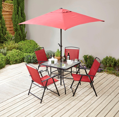 miami red 6 piece garden patio set