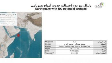 صورة زلزال بقوة 5.5 درجات على مقياس ريختر بمنطقة صدع أوين..