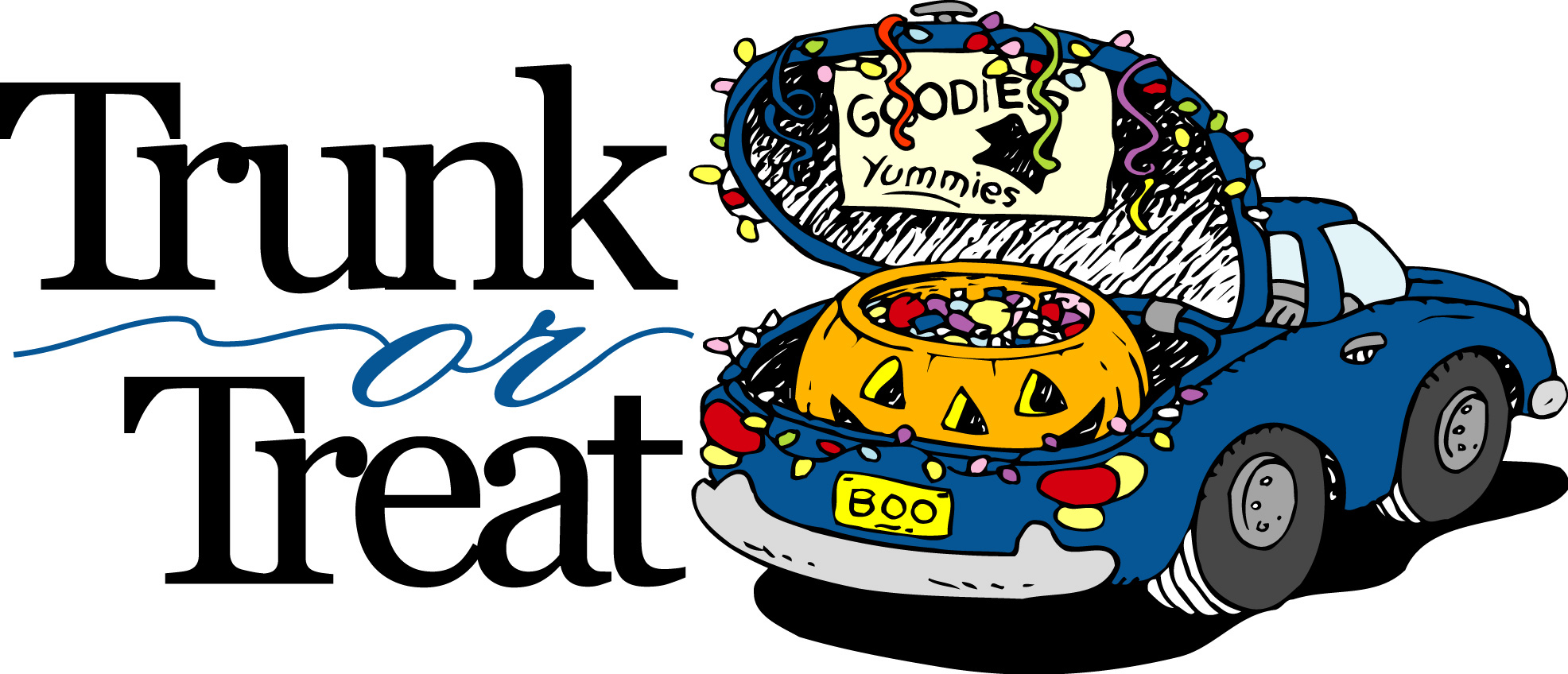 Trunk or Treat graphic represented by a blue car with Halloween Decortions and a Jack-o-Lantern