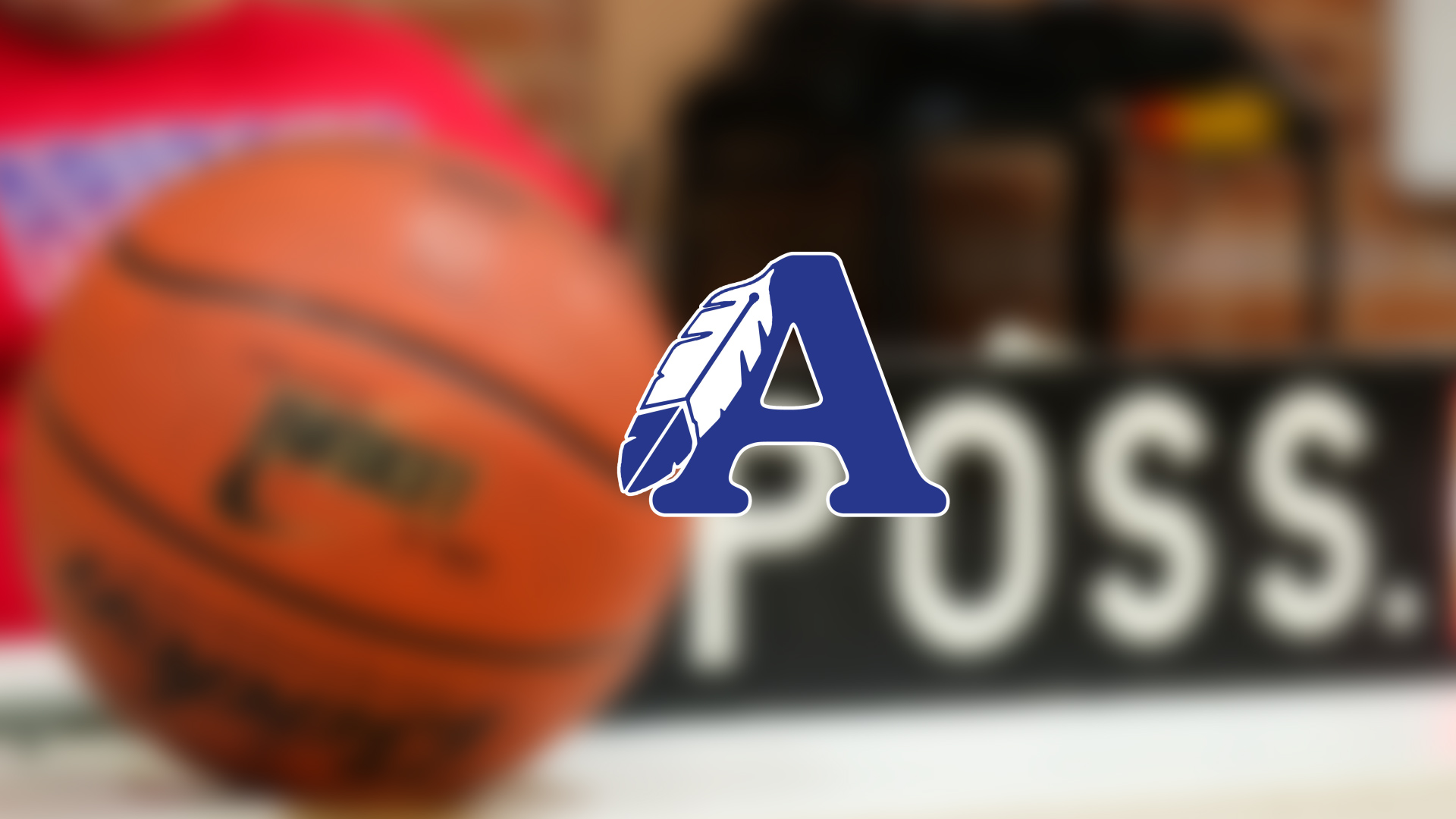 "Image that displayes a basketball on the court with an overlay of the the ASD Sentinel Logo featuring a blue ""A"" with a feather"
