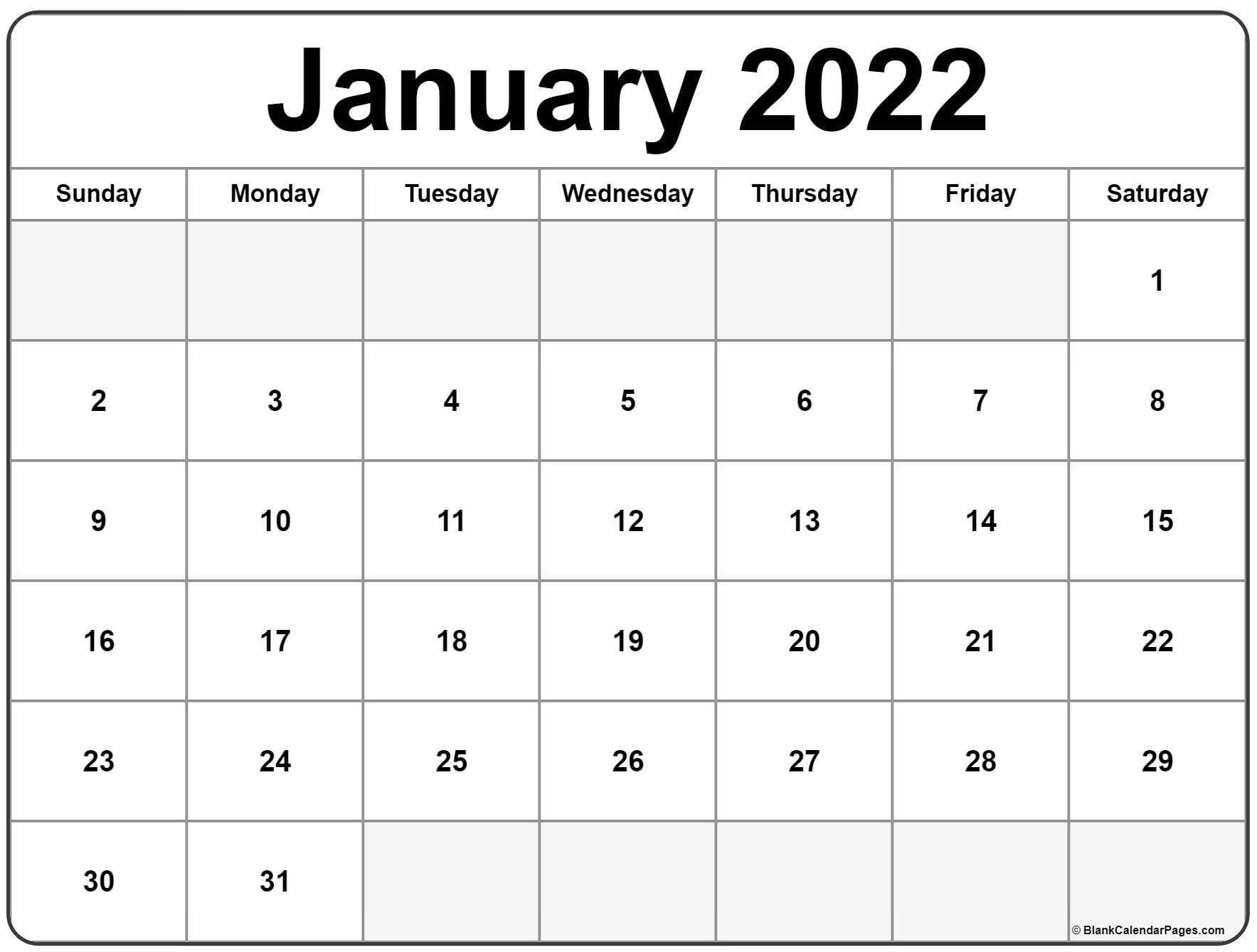 Printable Calendar For January 2022 | PRINTABLE CALENDAR 2021