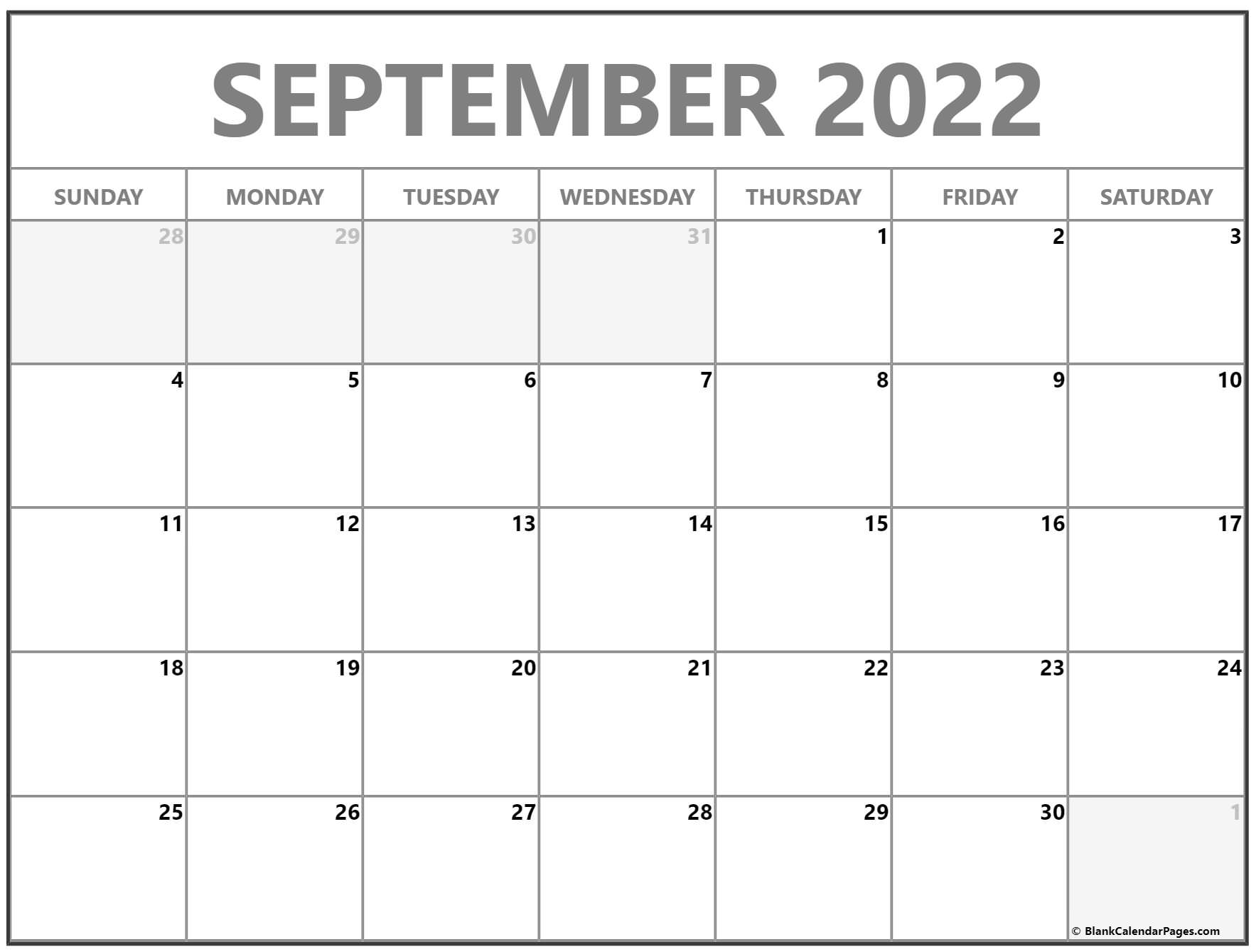 September 2022 Printable Calendar With Holidays ...