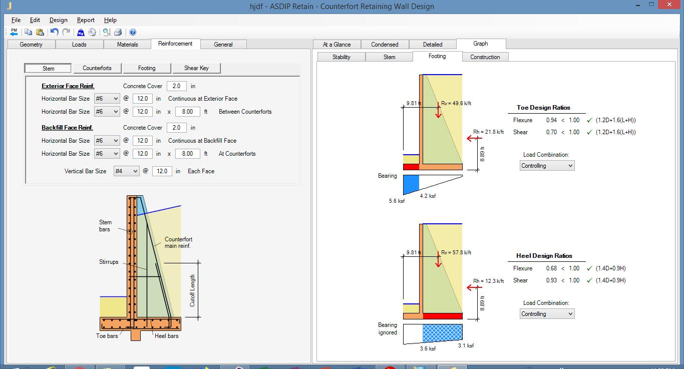 Counterfort Retaining Wall Design Example Using ASDIP