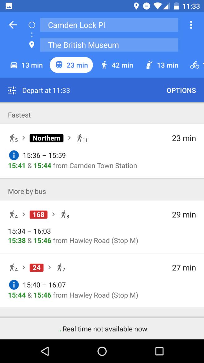 Transporte público no Google Maps
