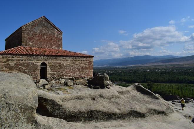 Uplistsikhe cidade cavernas Georgia igreja do alto