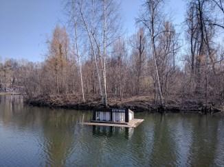 Moscou Parque Gorki ostrovok restaurante ubezquistão