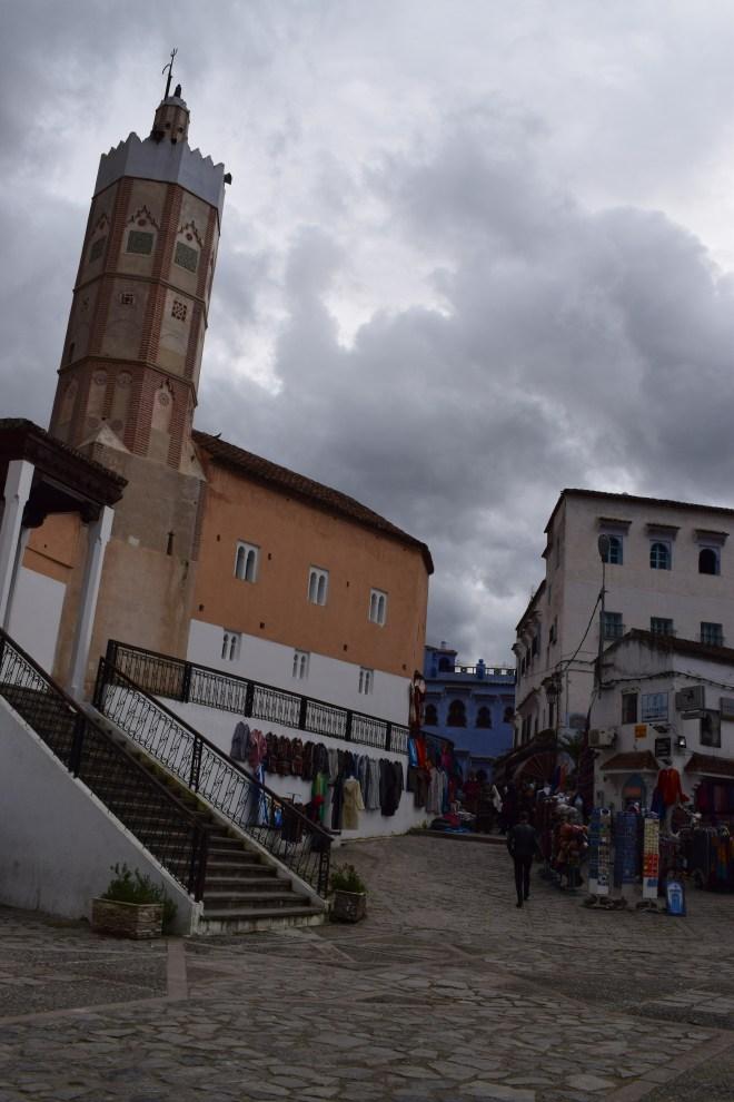 Marrocos Chefhaouen cidade azul grande mesquita