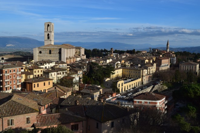 Perugia vista alto muralhas