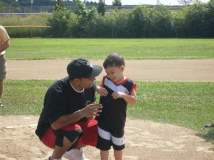 Throwing a pitch with Dad at FRNLL