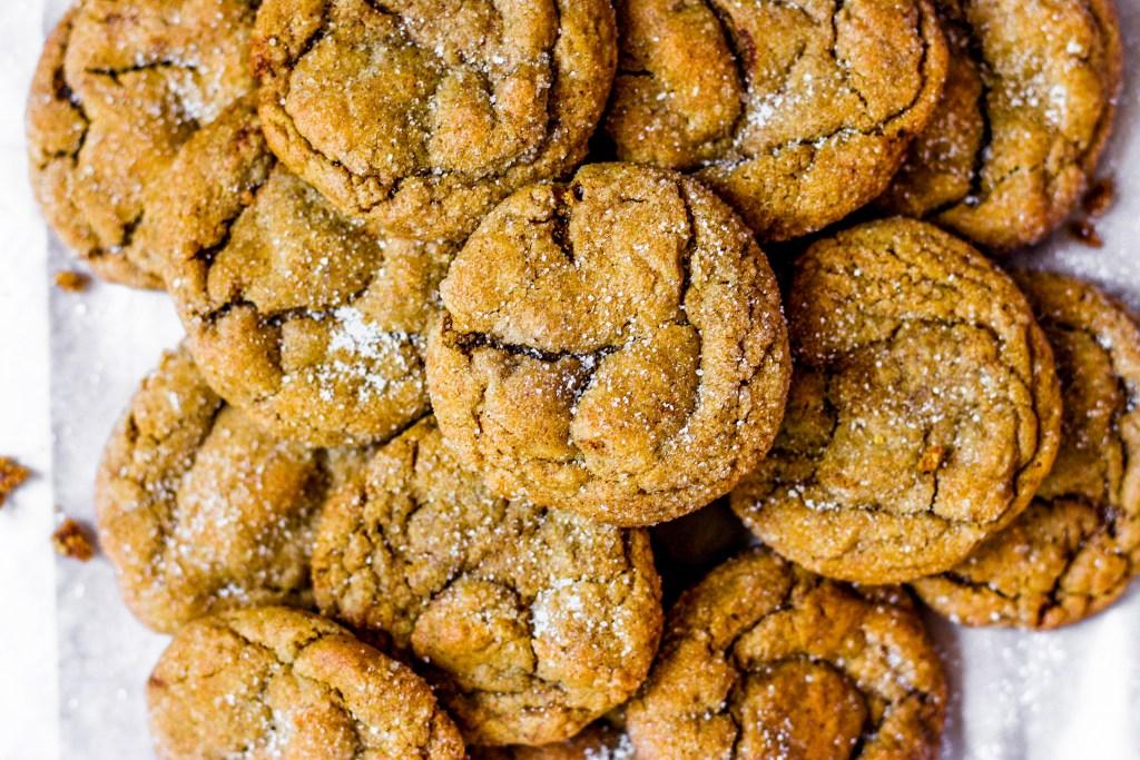 overhead shot of molasses cookies
