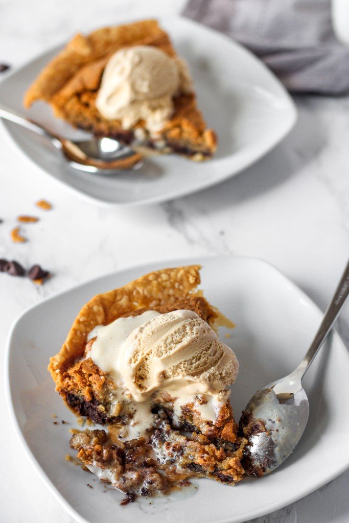 pie with ice cream and spoon