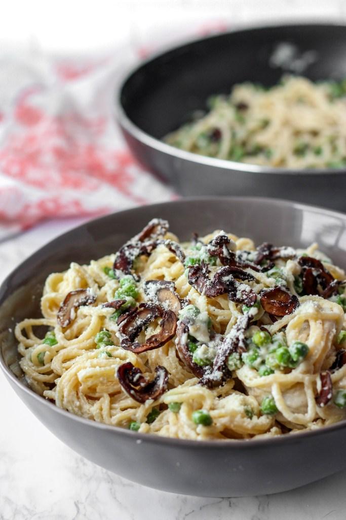 Marsala cream sauce pasta in a bowl