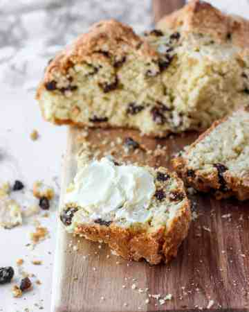 slice of Irish soda bread with butter