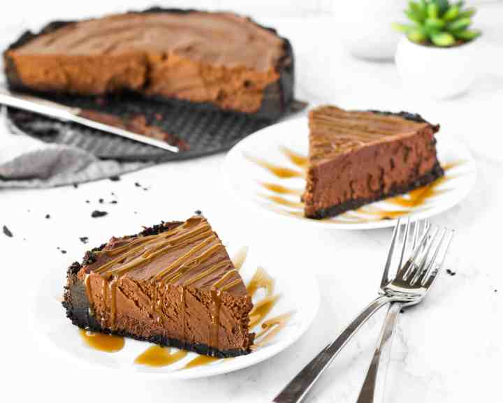 Slices of no bake chocolate cheesecake