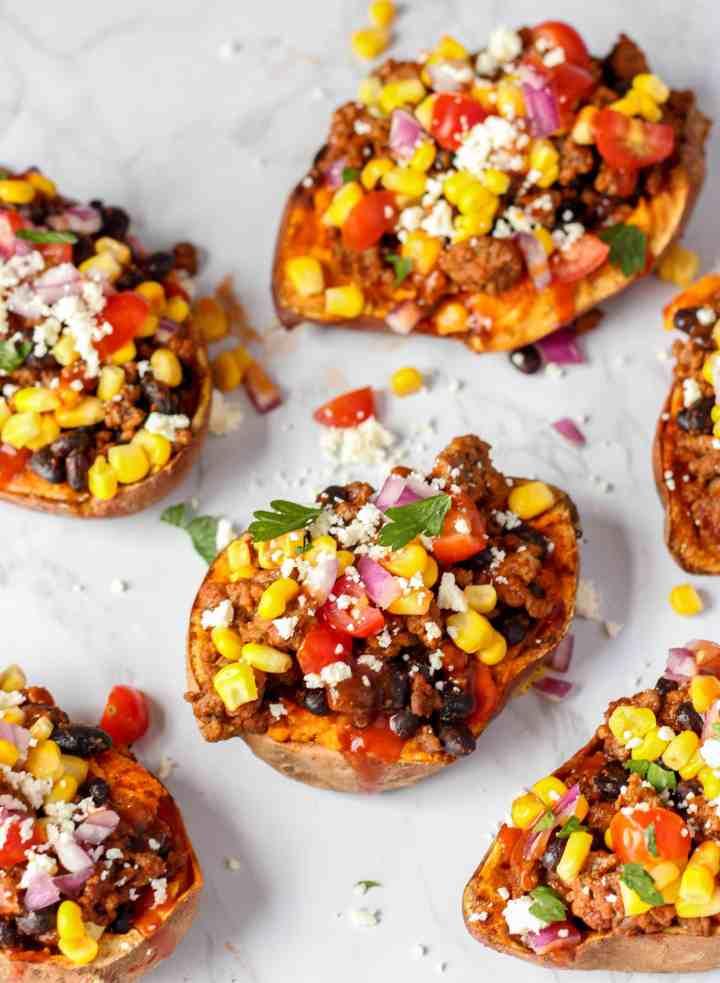 Overhead shot of the taco stuffed sweet potatoes