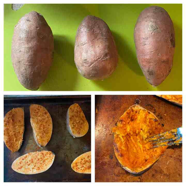 Three photos showing the process of the potatoes. Top photo shows plain sweet potatoes, bottom left shows them sliced and seasoned, and bottom right shows them being fluffed out of the oven.