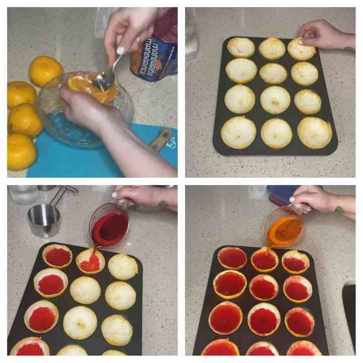 4 photos for the step by step process of how to make the tequila jello shots. Upper left photo- scooping the mandarin fruit out of the peel. Upper right photo is placing all of the empty peels into a muffin tin. Bottom left photo is pouring in the cherry jello. Bottom left photo is pouring in the orange jello on top of the chilled cherry jello.