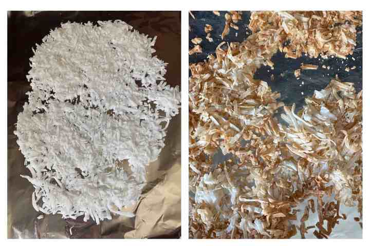 Two photos. Left photo shows coconut shavings on foil. Right photo shows the coconut pieces toasted.
