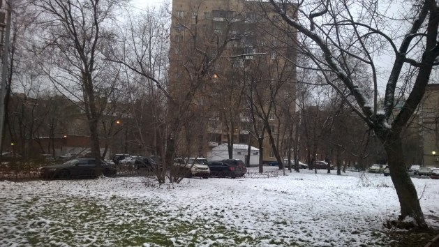 This is the start of winter with snow all around