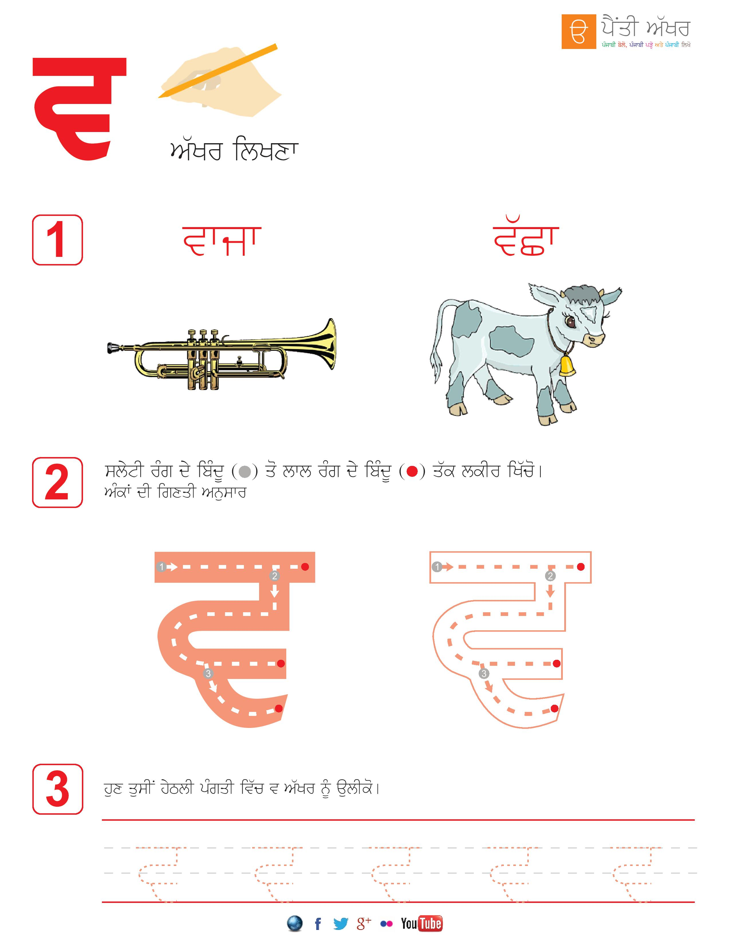 Punjabi Alphabets Worksheets Page 34 Aseen
