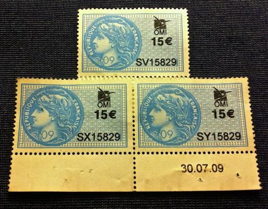 Fin de serie en timbres fiscales. Timbres propiedad de la República Francesa, la foto es de Armando Segovia.