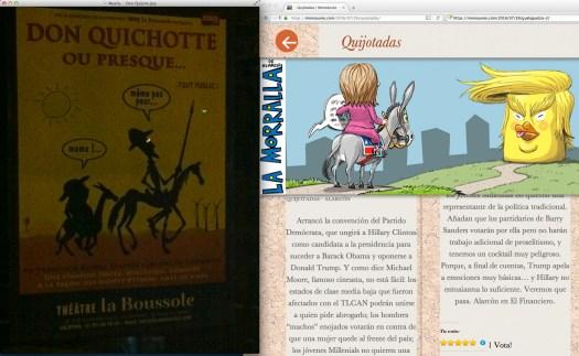 Con la brújula del Teatro de la Noche. | Uso justo del MonoAureo y de un anuncio del Quijote en París.