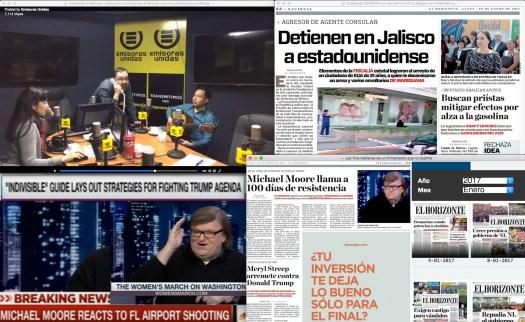 Ahorita en el estado de Jalisco son las 3 de la madrugada, y en Monterrey, Michael Moore llega hasta 'otros' Horizontes... en Guatemala, Emisiones Unidas es primera en 'deportes' y son bien travies@s con los trastes de las guitarras prestadas.