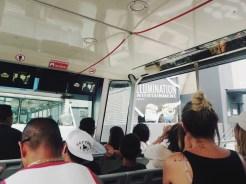 Riding the tour shuttle