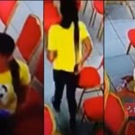 Watch video: Beautiful Lady Caught On Camera Stealing A Phone In Church As She Pretends To Be Praying