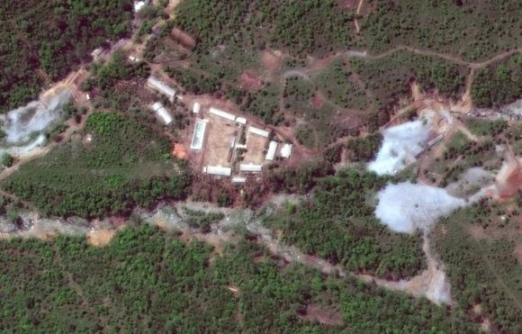 A satellite image of the Punggye-ri site before the detonations