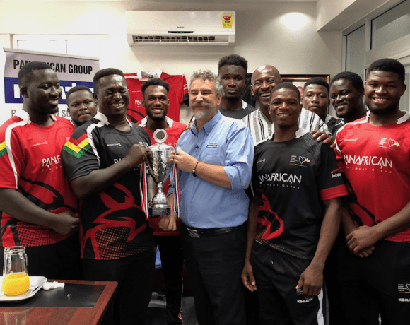 Mr Tim Callaghan, General Manager of Panafrican Equipment, sharing the 2018 Rugby Africa Bronze Cup