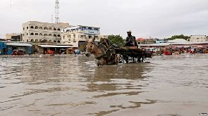 A donkey pulls a cart as they wade through a flooded street in Hamerweyne