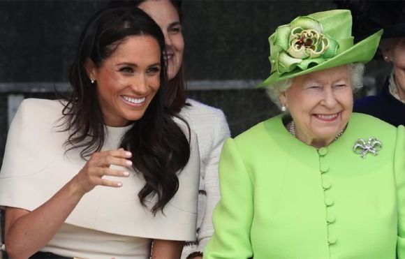 Queen Elizabeth II and the Duchess of Sussex at the opening of the new Mersey Gateway Bridge, in Widnes, Cheshire