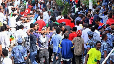 Two people were killed in a blast during a rally in Addis Ababa which caused a wave of panic