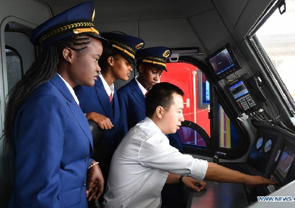 Kenyan women drivers displayed to the public before the launch of the SGR trains in 2017