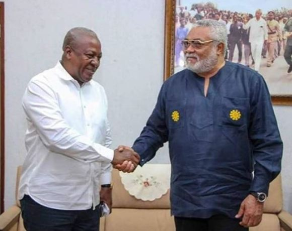 Mahama Shakes hands with Rawlings