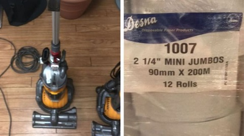 One of several broken vacuums and packs of toilet rolls for sale on the US embassy's online auction