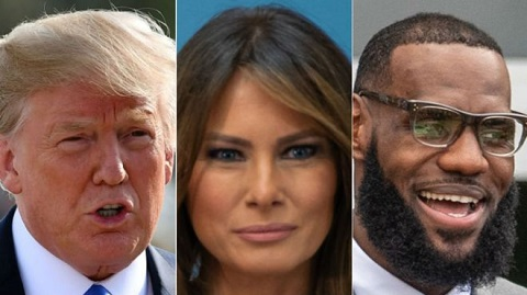 President Donald Trump, Melania Trump and LeBron James