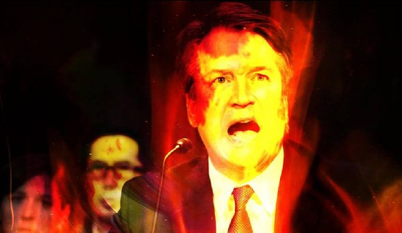 Catland Books used a fiery image of Brett Kavanaugh to promote their event