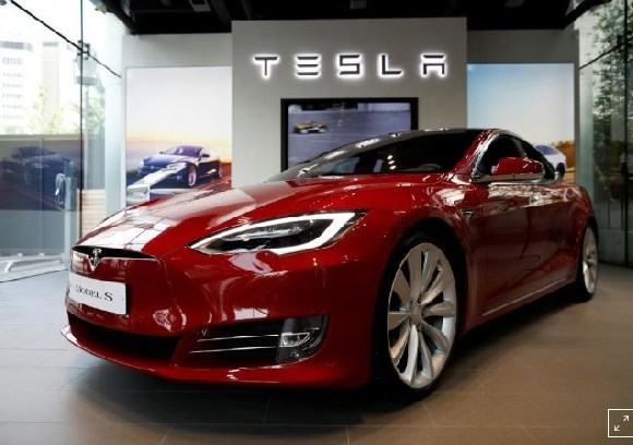 A Tesla Model S electric car is seen at its dealership in Seoul, South Korea