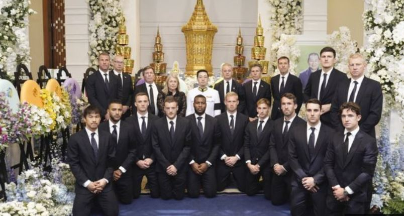 Leicester City players attend funeral